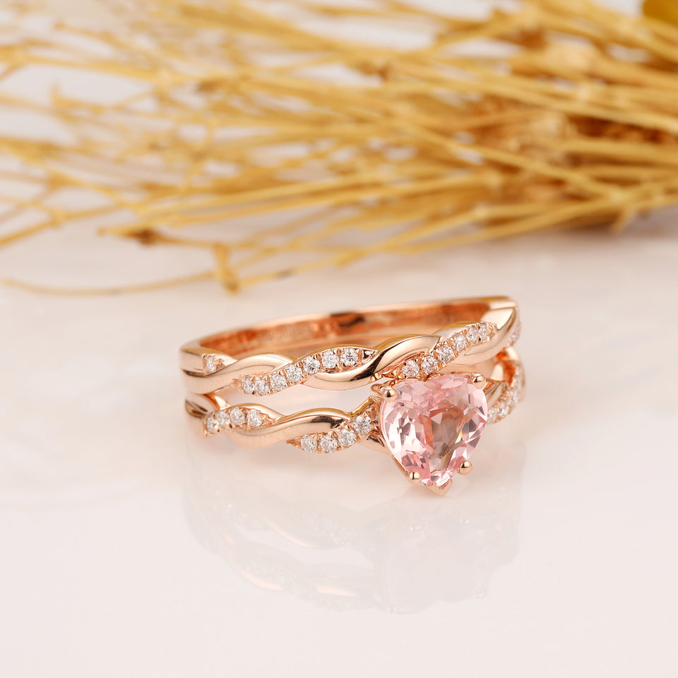 Heart Shape 1ct Center Morganite Bridal Set, Rope Style Accents 14k Rose Gold Engagement Ring