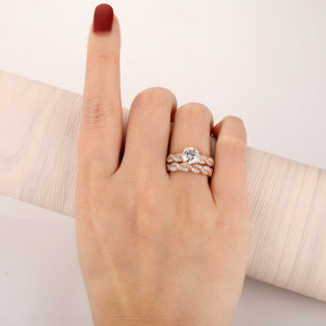 1.5CT Round Cut Moissanites Engagement Ring, Rope Twist Design Ring, 14k Rose Gold Ring Set, Half Eternity Wedding Ring