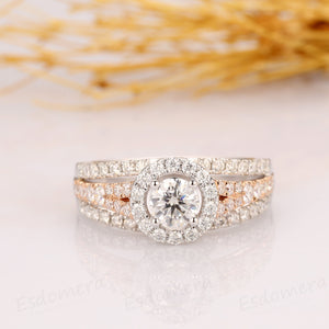 Round Cut 0.6CT Moissanite Engagement Ring, 14k Two Tone Gold Wedding Ring