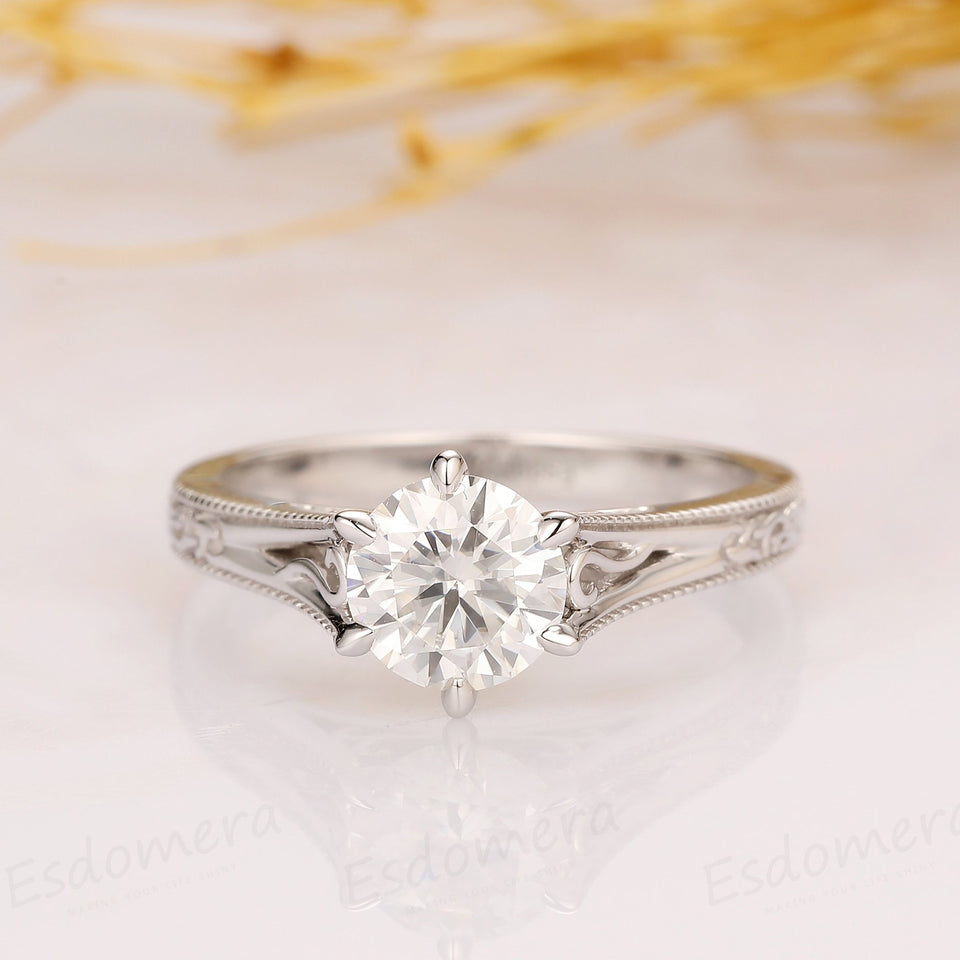 Antique Filigree Solitaire 6 Prong 1CT Round Cut Moissanite Engagement Ring