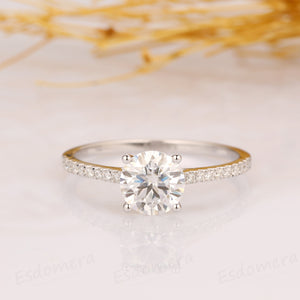 Round Cut 7mm Moissanite Ring, 14k Rose Gold Ring, Art Deco Ring