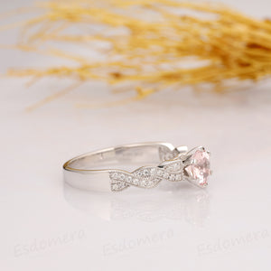 Round Cut 1CT Morganite Ring, 14k White Gold Engagement Ring