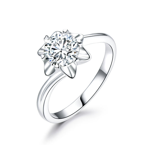 Round Cut 1CT CVD Lab Grown Diamond Snow Flake Solitaire Ring