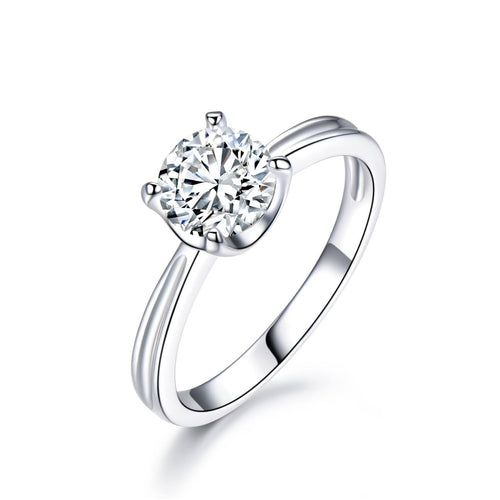 Round Cut 1CT CVD Synthetic Diamond 4 Prongs Solitaire Ring