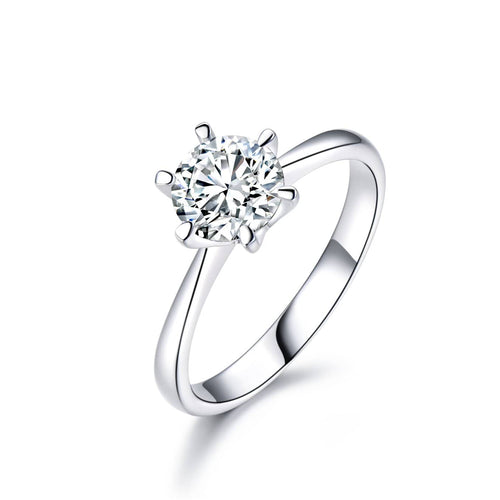Round Cut 1CT CVD Synthetic Diamond Solitaire Engagement Ring