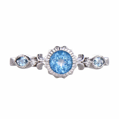 5mm/ 0.5ct Blue Topaz Ring Engagement Ring  Promise Ring Anniversary Gift