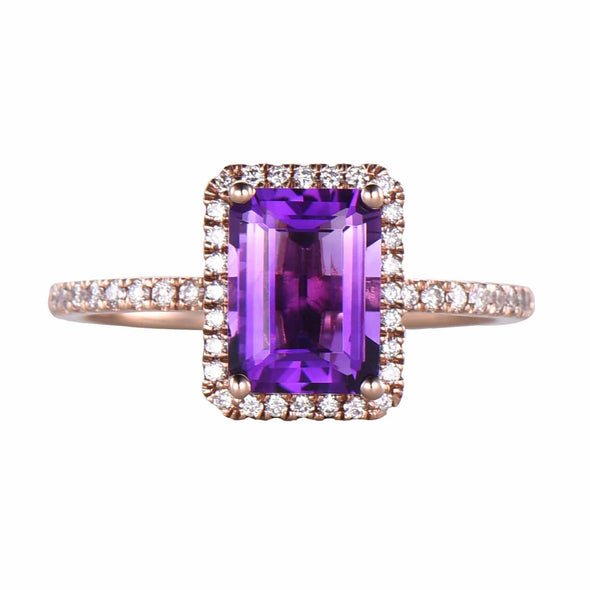 1.5ctw mm Natural VS Amethyst Promise Ring Rose Gold Ring Sets