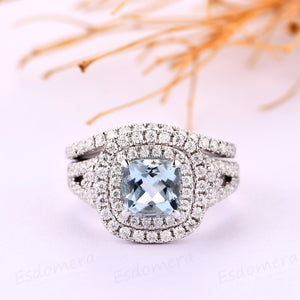 Aquamarine Wedding Set, Cushion Cut 1CT Aquamarine Engagement Ring, Double Halo 14k White Gold Accents Aquamarine Wedding Bridal Set