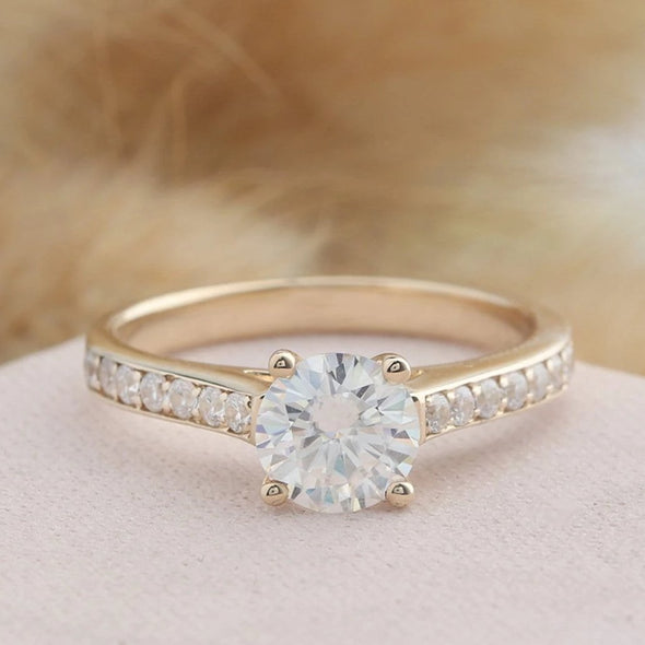 925 Sterling Silver - Channel Accents 1CT Moissanite Engagement Ring