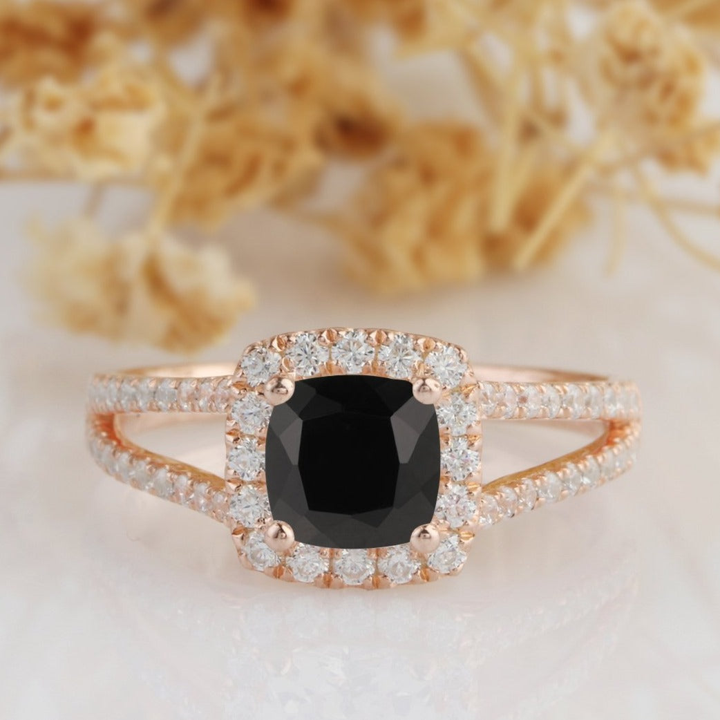 Halo Cushion Cut 6mm Onyx Ring, Split Shanks Black Agate 14k Rose Gold Ring