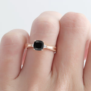 Cushion Cut 6mm Onyx Wedding Ring,  14k Rose Gold Art Deco Engagement Ring