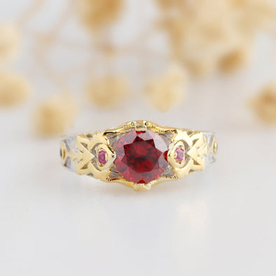 Created Ruby Ring, Gemstone 925 Sterling Silver Engagement Ring