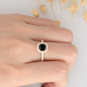 Cushion Cut 7.5mm Onyx Wedding Ring,  14k Rose Gold Halo Engagement Ring