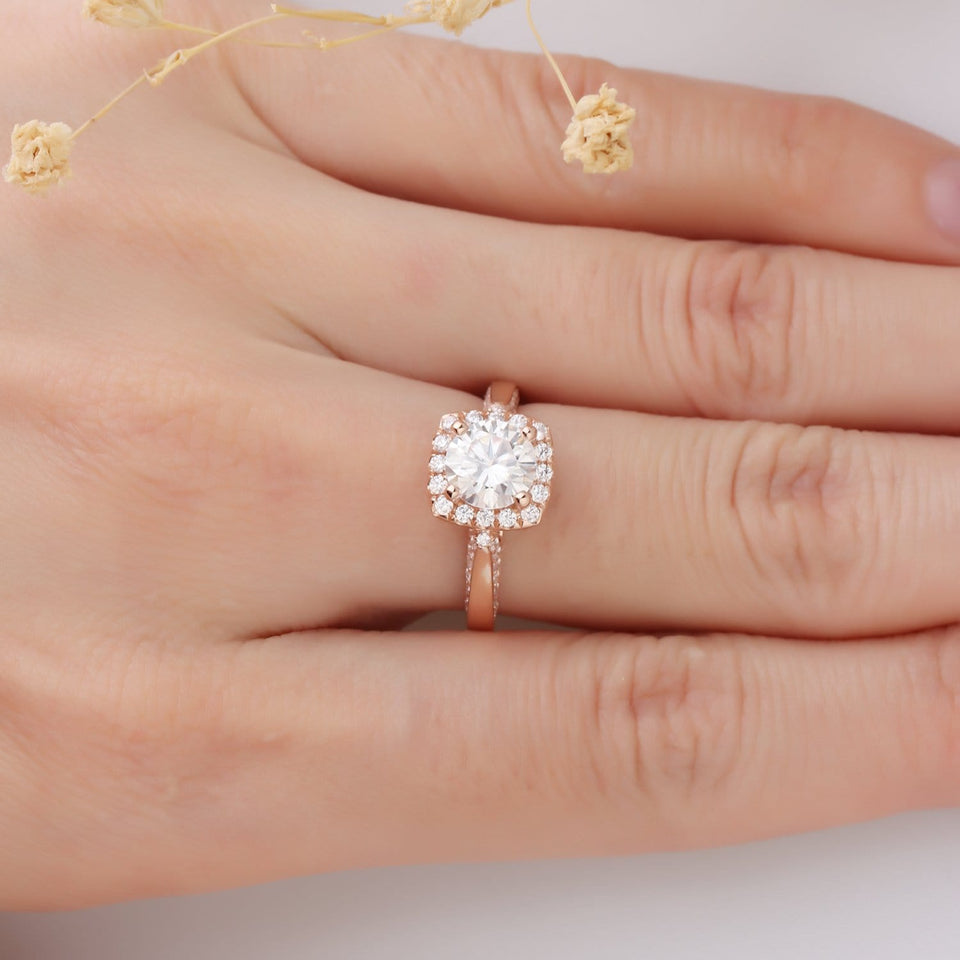 Halo 1.25ct Round Esdomera Moissanites Ring, Antique Filigree Engagement Ring