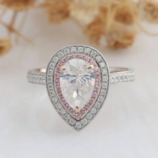 Pear Cut 6x9mm Moissanite Ring, Double Halo Pink Pave Accent Engagement Ring