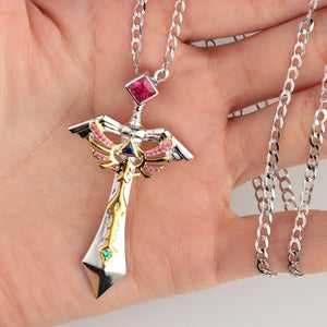 Two Tone Color Sword Design Necklace, Lab Created Ruby Sterling Silver Pendant