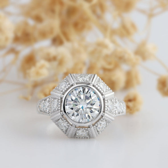 Antique Round 1 CT Moissanite Ring, Filigree Milgrain Engagement Ring