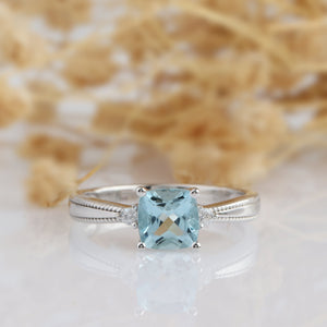 Cushion Cut 7x7mm Natural Aquamarine Ring, Vintage 14k White Gold Engagement Ring