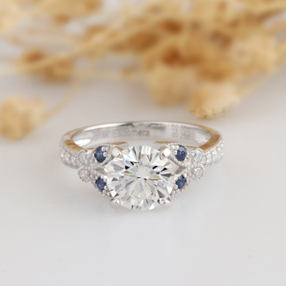 Round 2ct Esdomera Moissanite Ring, Filigree Blue Sapphire Wedding Ring
