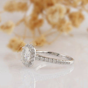 Round Cut 1 CT Moissanite Ring, Halo Accents 14k White Gold Wedding Ring
