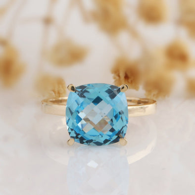 Blue Topaz Ring, Cushion Cut 5ct Natural Gemstone Blue Topaz 10*10mm Solitaire 14k Rose Gold Engagement Ring, Gemstone Ring