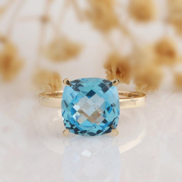 10*10mm Cushion Cut 5ct Natural Blue Topaz Ring, Engagement Ring