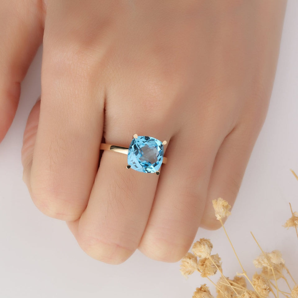 5CT Cushion Cut Natural Blue Topaz Ring, Solid 14k Gold Engagement Ring