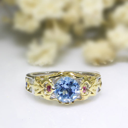 Two Tone Color Ring, Natural Blue Topaz 925 Sterling Silver Engagement Ring