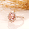 2CT Radiant Natural Morganite Engagement Ring, Halo Natural Diamond Ring, Solid Gold Ring