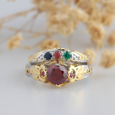 Zelda Ring, Video Game Two Tone Gold Triforce Lab Created Ruby Sterling Silver Bridal Wedding Set, Ring for Geek, Bridal Set
