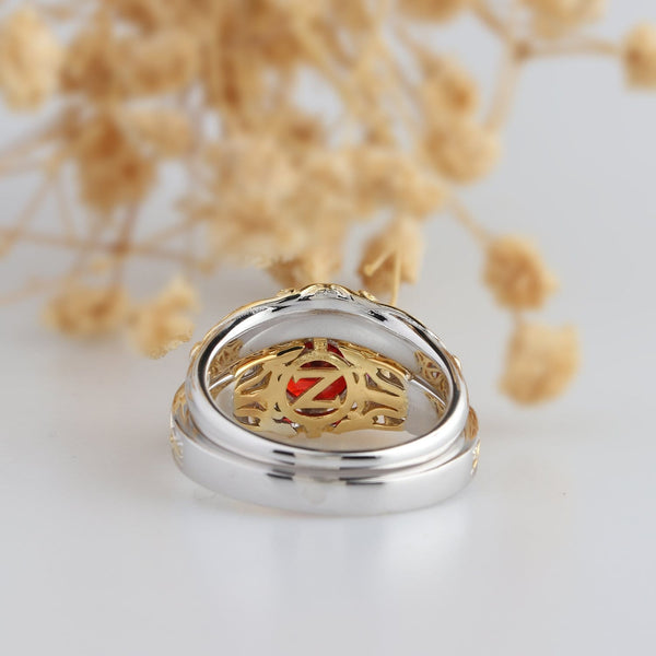 Zelda Ring, Two Tone Gold Ring, Lab Created Ruby Bridal Set
