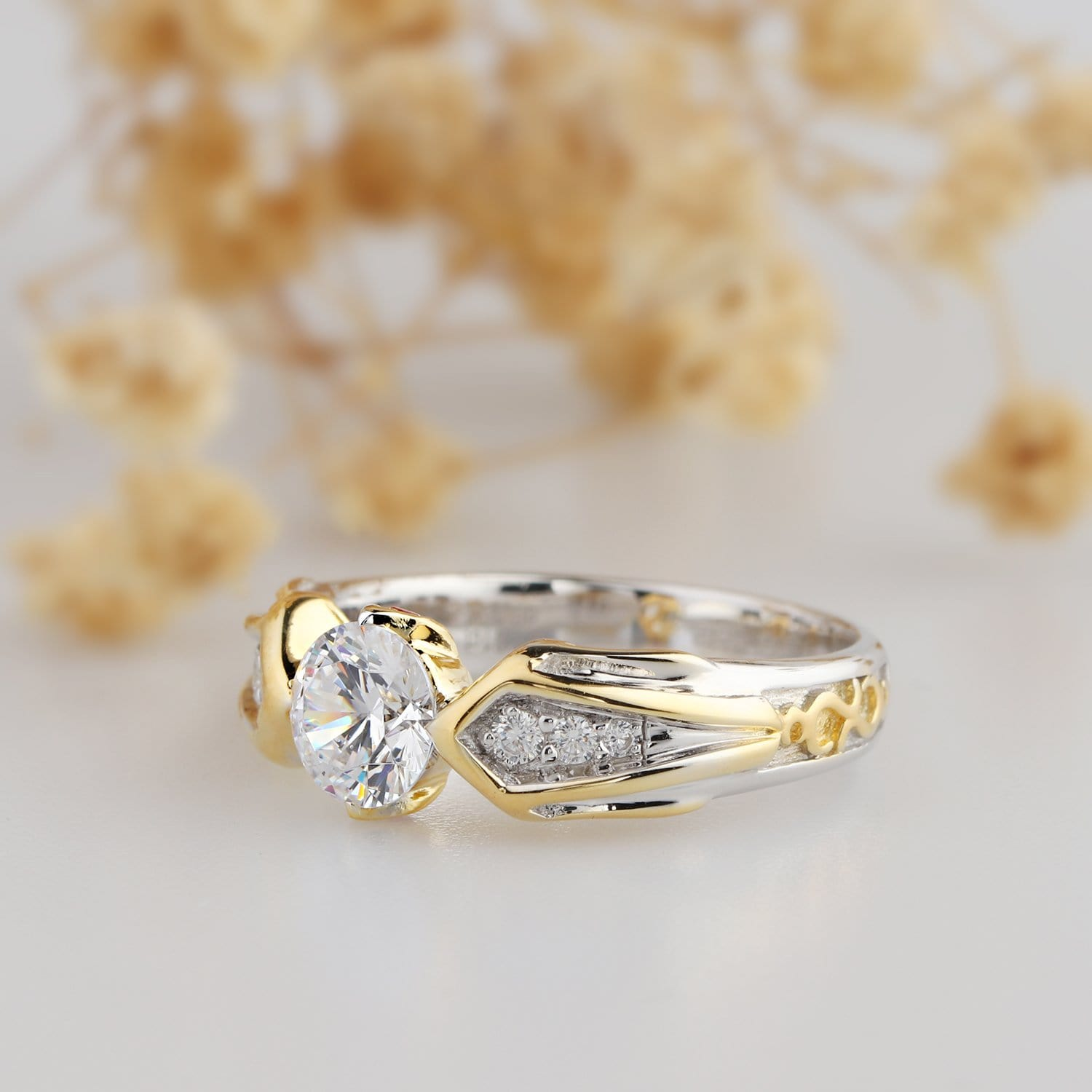 princess ring solid i engagement size gold cut man diamond yellow made