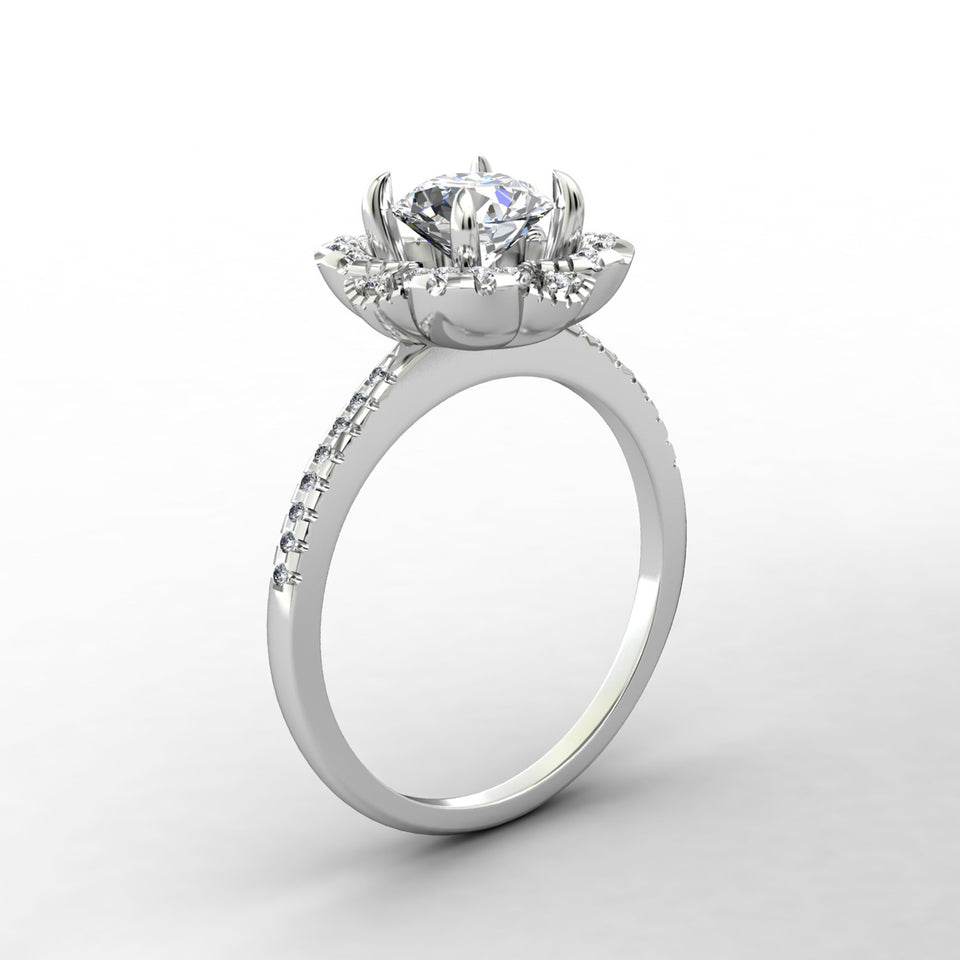 Personalized Promise Ring For Her, 1.0CT Round Cut Blue Moissanite Wedding Ring