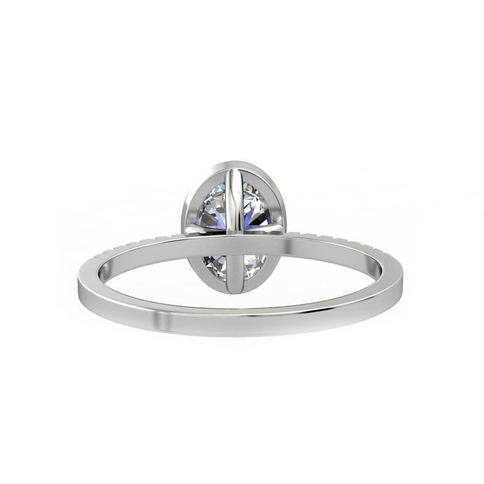Bezel Set Promise Ring, 1.5CT Oval Cut Blue Moissanite Wedding Ring