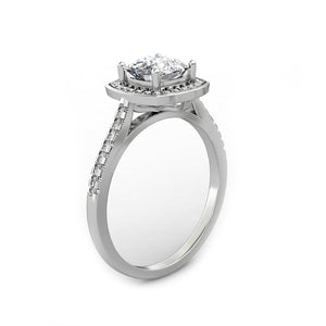 Half Eternity Halo Ring, 1.1CT Cushion Cut Moissanite Engagement Ring