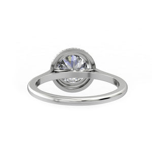 Solid 14k Gold Anniversary Ring, 1.25CT Round Cut Blue Moissanite Wedding Ring