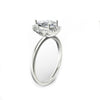 925 Sterling Silver - Pear Cut 6x9mm Vintage Halo Moissanite Engagement Ring