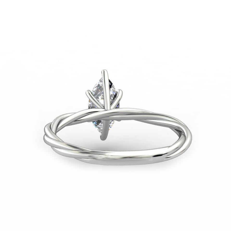 Rope Shank Design Wedding Ring, 1.0CT Marquise Cut Moissanite Ring