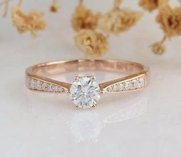 Custom Order -  Solid 14k Gold Moissanite Wedding Ring, Upgrade The Center Stone To 1.5ct(7.5mm)