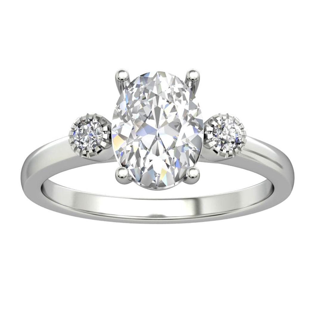 Handmade 2.1CT Oval Cut Moissanite Accents Ring, 14k Gold 4-Prongs Wedding Ring