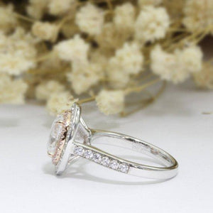 Oval Cut 2.1ct 7x9mm Esdomera Moissanite Ring, Double Halo Engagement Ring