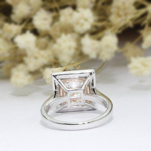 Princess Cut 2ct 7mm Moissanites Ring, Double Halo Pink Pave Set Accents Ring