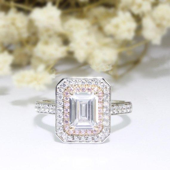 Halo Emerald Cut 2ct 6x8mm Moissanites Ring, 14k White Gold Engagement Ring