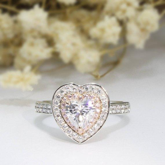 Heart Cut 1ct 6.5mm Esdomera Moissanites Double Halo Pink Pave Accents 14k White Gold Engagement Ring, Heart Ring, Halo Stackable Ring