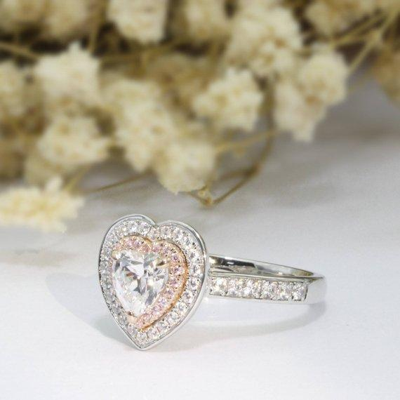 Heart Cut 1ct Esdomera Moissanites Ring, Double Halo Pink Pave Engagement Ring