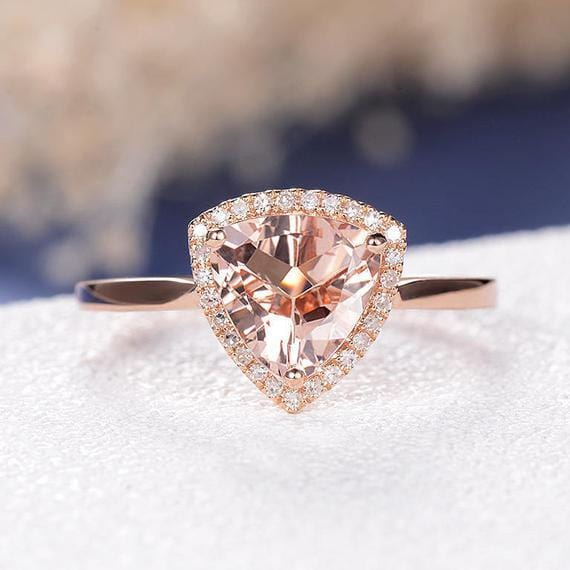 Trillion Cut 8x8.5mm Peachy Morganite Halo Engagement Ring