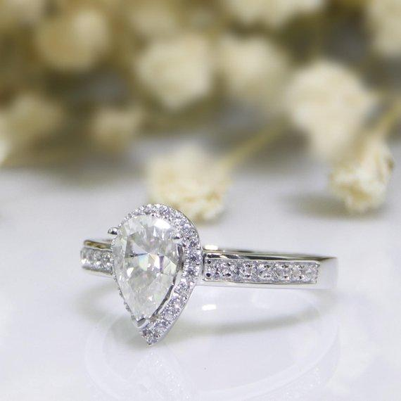 Halo Water Drop 1 CT Moissanite Ring, Pear Cut Pave Accents Ring
