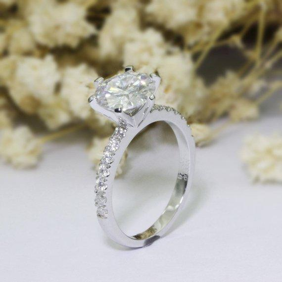 Round Cut 2.5ct Moissanite Ring Pave Accents 6 Prong Engagement Ring