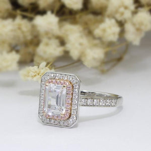 Halo Emerald Cut 2ct 6x8mm Moissanites Ring, 14k Two Tone Gold Engagement Ring