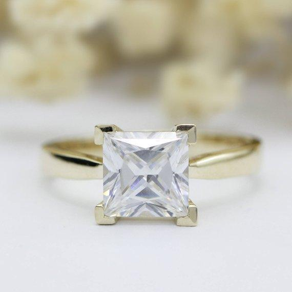 2.2CT Princess Cut Moissanite Wedding Ring, 4 Prongs Solitaire Promise Ring
